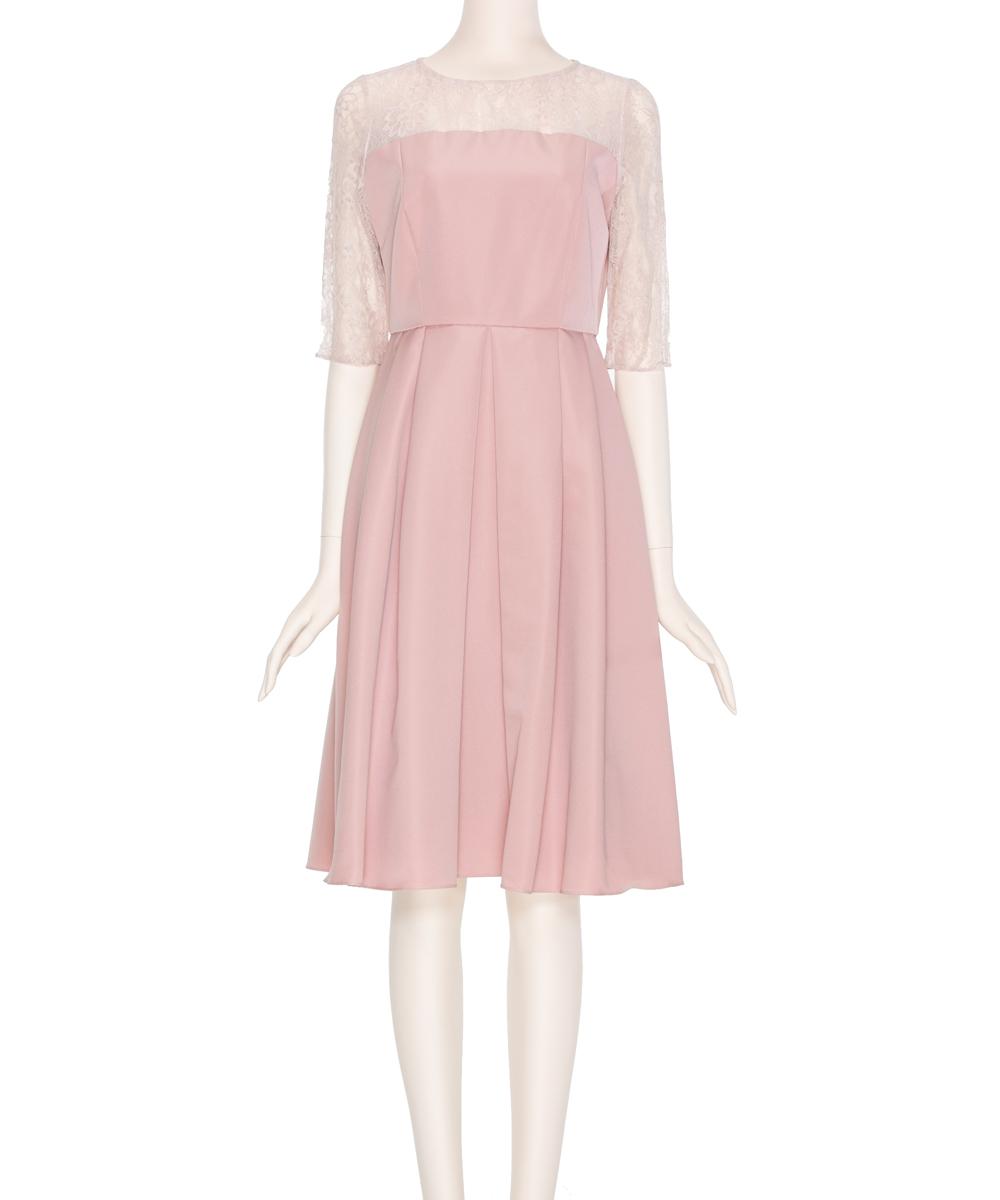 207a530066333 AIMER エメ ダミアレース七分袖ドレス ピンク 9号 パーティードレス ...